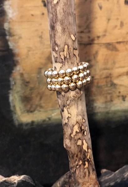 Gold Filled Ball Ring on Stretch Cord