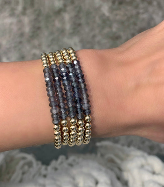 Gold Filled 4MM Bracelet with Iolite Stones