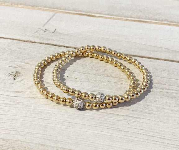 Gold Filled 4MM Ball Bracelet with Silver CZ Pave Ball