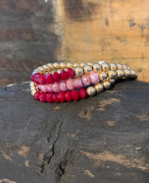 Gold Filled 5MM Bracelet with Ruby Stones