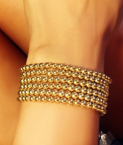 Gold Filled Ball Bracelet on Stretch Cord