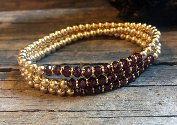 Gold Filled Ball Bracelet with Garnet on Stretch Cord