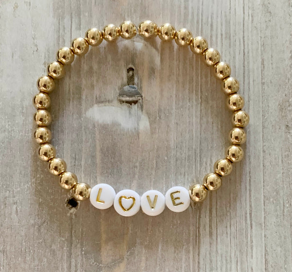 Gold Filled Ball Bracelets with Gold Color Personalized Words