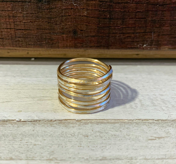 Hammered Raw Wrap Ring