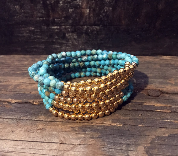 Turquoise and Gold Filled Bracelets on Stretch Cord