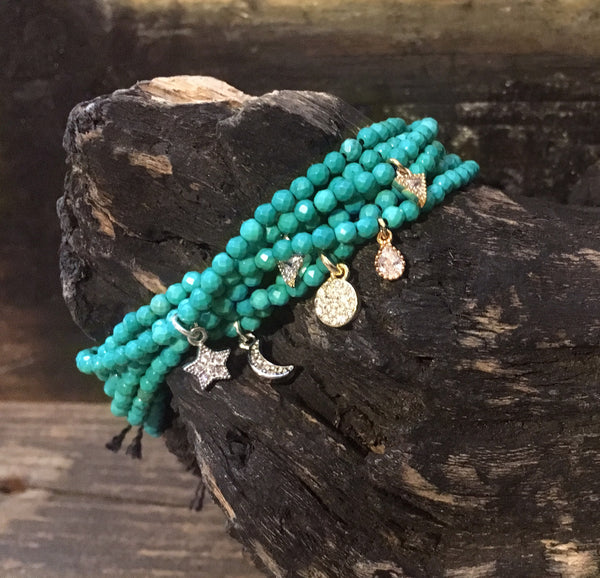Mini Green Turquoise Howlite Adjustable Bracelets