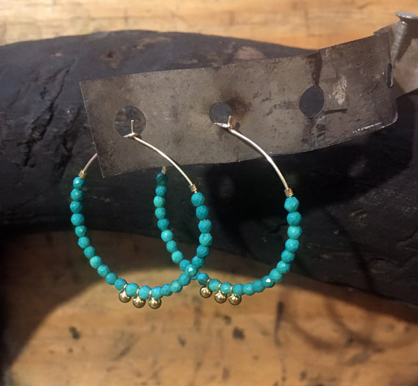 Howlite Turquoise Hoop Earrings