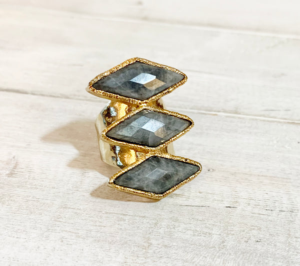 Grey Three Stone Amazonite Adjustable Gold Overlay Ring