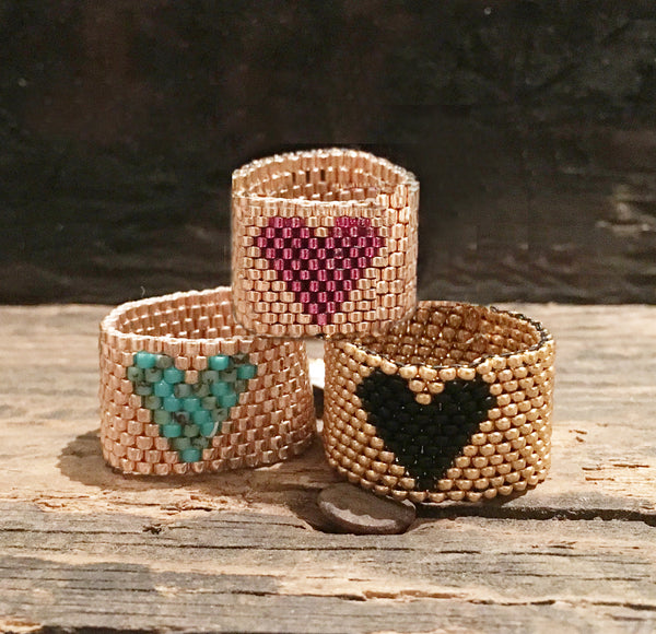 Heart Seed Bead Rings