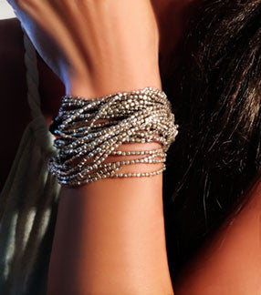 Silver Heishi Bead Wrap Bracelet with Leather Tie
