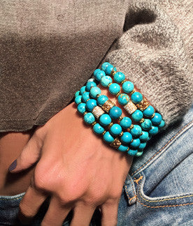 Turquoise Howlite on Stretch Cord with Pave CZ Components
