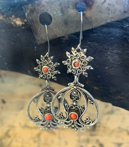 Vintage Italian Earrings with Carnelian