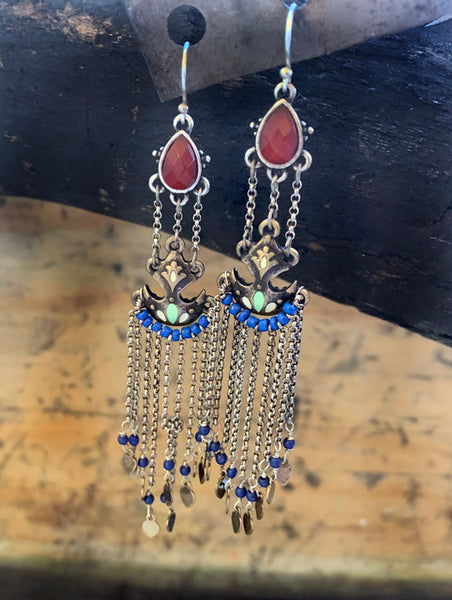 Vintage Italian Silver Earrings with Carnelian, Turquoise and Lapis