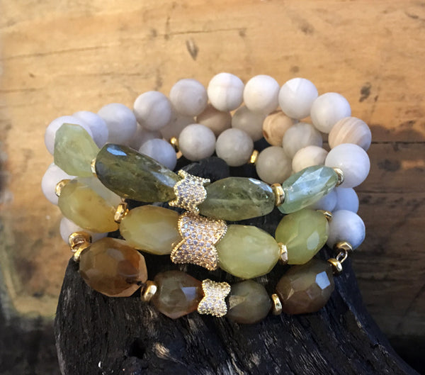 Green and Yellow and Brown Jade with White Agate on Stretch Cord