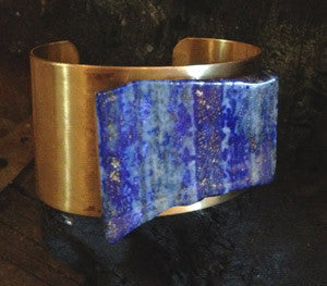 Brass Cuff with Lapis
