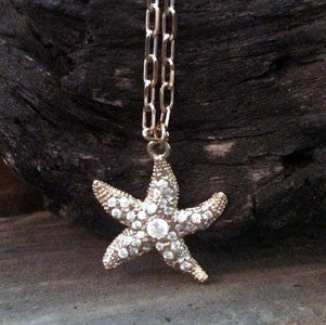 Large Gold Overlay Starfish CZ Pendant