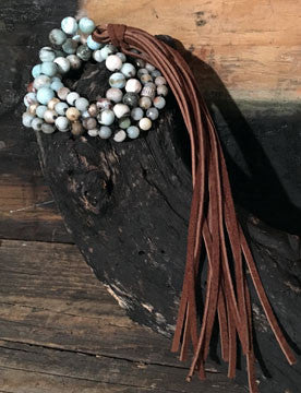 Larimar, Aqua, Amazonite Hand-Knotted Long Necklace