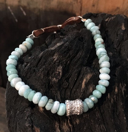 Larimar Silverite Bracelet on Adjustable Leather