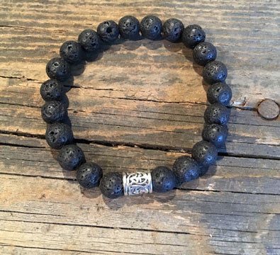 Black Lava Men's Bracelet on Stretch Cord with Silver