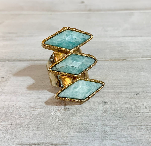 Light Green Amazonite Three Stone Adjustable Gold Overlay Ring
