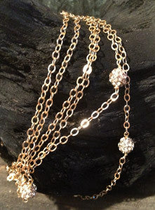 "Pave Balls on Long 54"" Chain"
