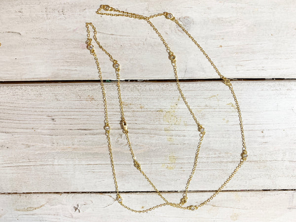 Long Gold Overlay Chain with CZ