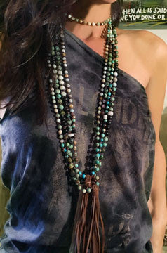 African Turquoise, Garnet and Amazonite Hand-Knotted Long Necklace with Leather Tassel