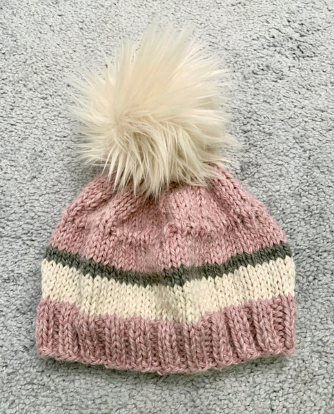 Light Pink Stripe Baby Alpaca Beanie with Pom-Pom