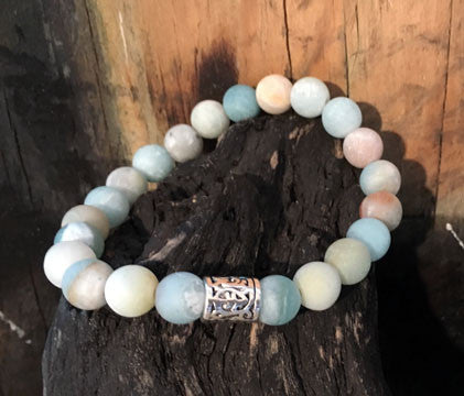 Matte Amazonite Men's Bracelet on Stretch Cord with Silver