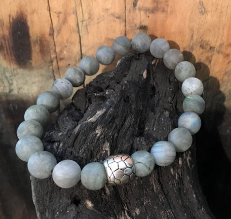 Matte Labradorite Men's Bracelet with Silver