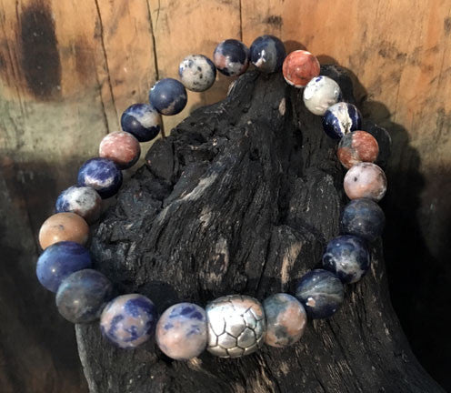 Matte Orange Sodalite Men's Bracelet with Silver
