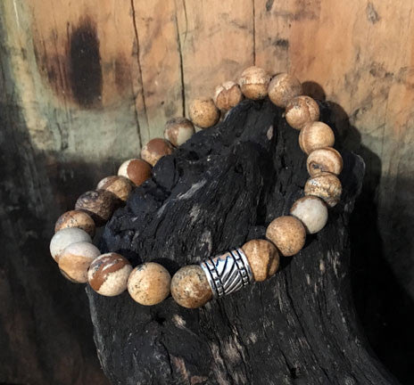 Picture Jasper Men's Bracelet on Stretch Cord with Silver