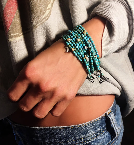 Mini Turquoise Adjustable Bracelets with Charms