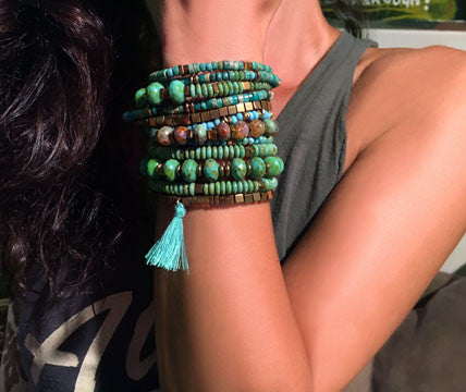 Green Turquoise with Hematite Bracelets on Stretch Cord