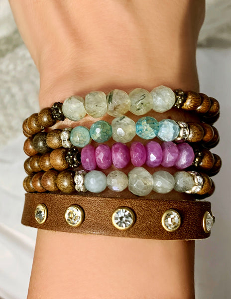Mix Stones with Wood Bracelets on Stretch Cord