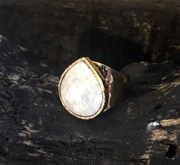 Moonstone Sparkle Adjustable Ring