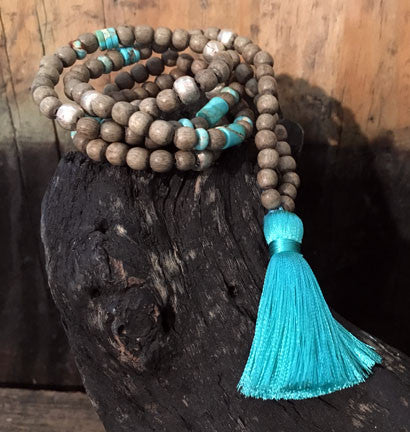 Graywood  Necklace with Turquoise and Silver, Turquoise Tassel