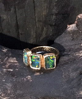 3 Rectangle Green Opal Ring