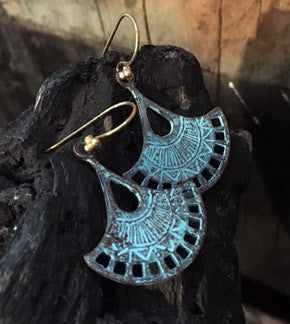 Blue Patina Fan Earrings