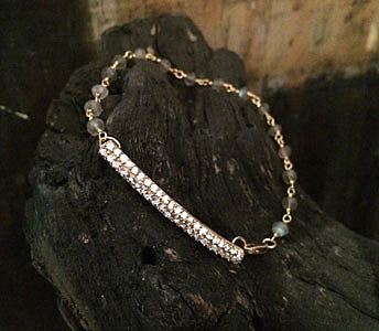 Pave CZ Bar with Garnet Wire Wrap Bracelet