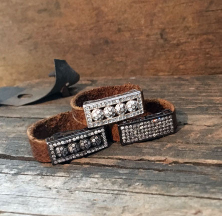 Pave CZ Rectangle Bar Rings on Leather Band