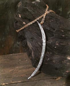 Natural Pave Diamond Crescent Moon Pendant