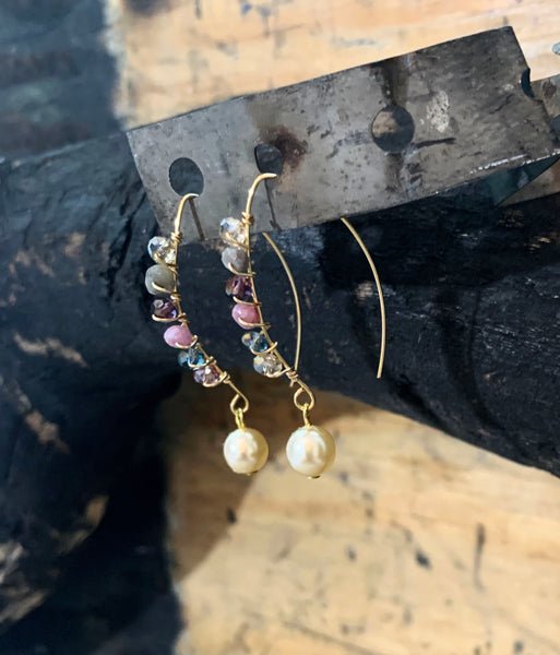 Fresh Water Pearl Round Drop Earrings with Gemstones