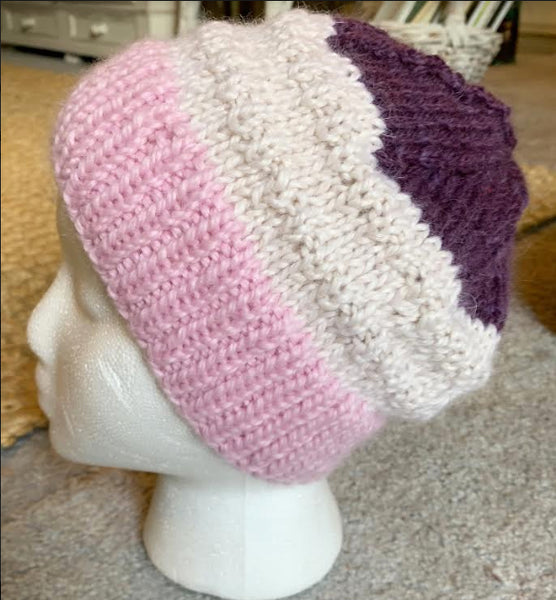 Pink, Cream and Purple Hand Knit Baby Alpaca Beanie