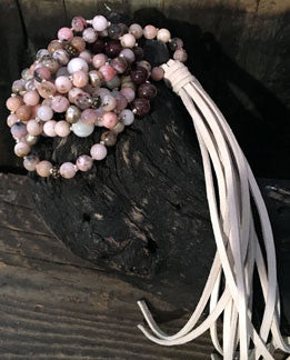Pink Opal, Rhodonite, Amazonite, Tourmaline and Tiger Ebony Hand-Knotted Long Necklace