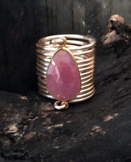 Pink Sapphire Umba Wire Wrap Ring