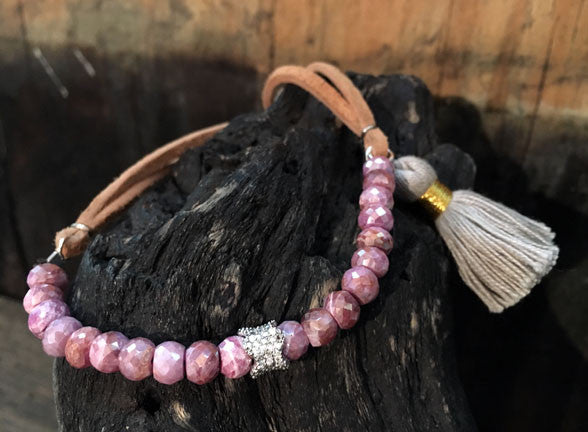 Pink Silverite Bracelet with Adjustable Leather