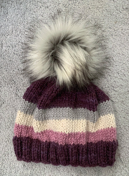 Purple Baby Alpaca Beanie with Pom-Pom