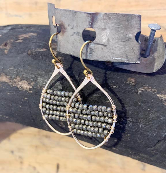 Pyrite Hammered Gold Filled Earrings