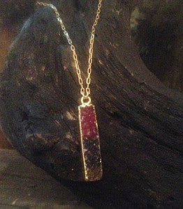 Red Druzy Rectangle Bar Pendant